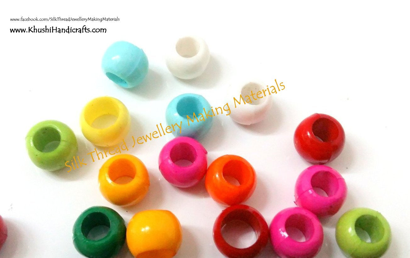 6mm plastic beads -silk thread jewellery making materials