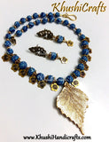 Blue designer Polymer beads amagamated with Metal charms Necklace set - Khushi Handmade Jewellery