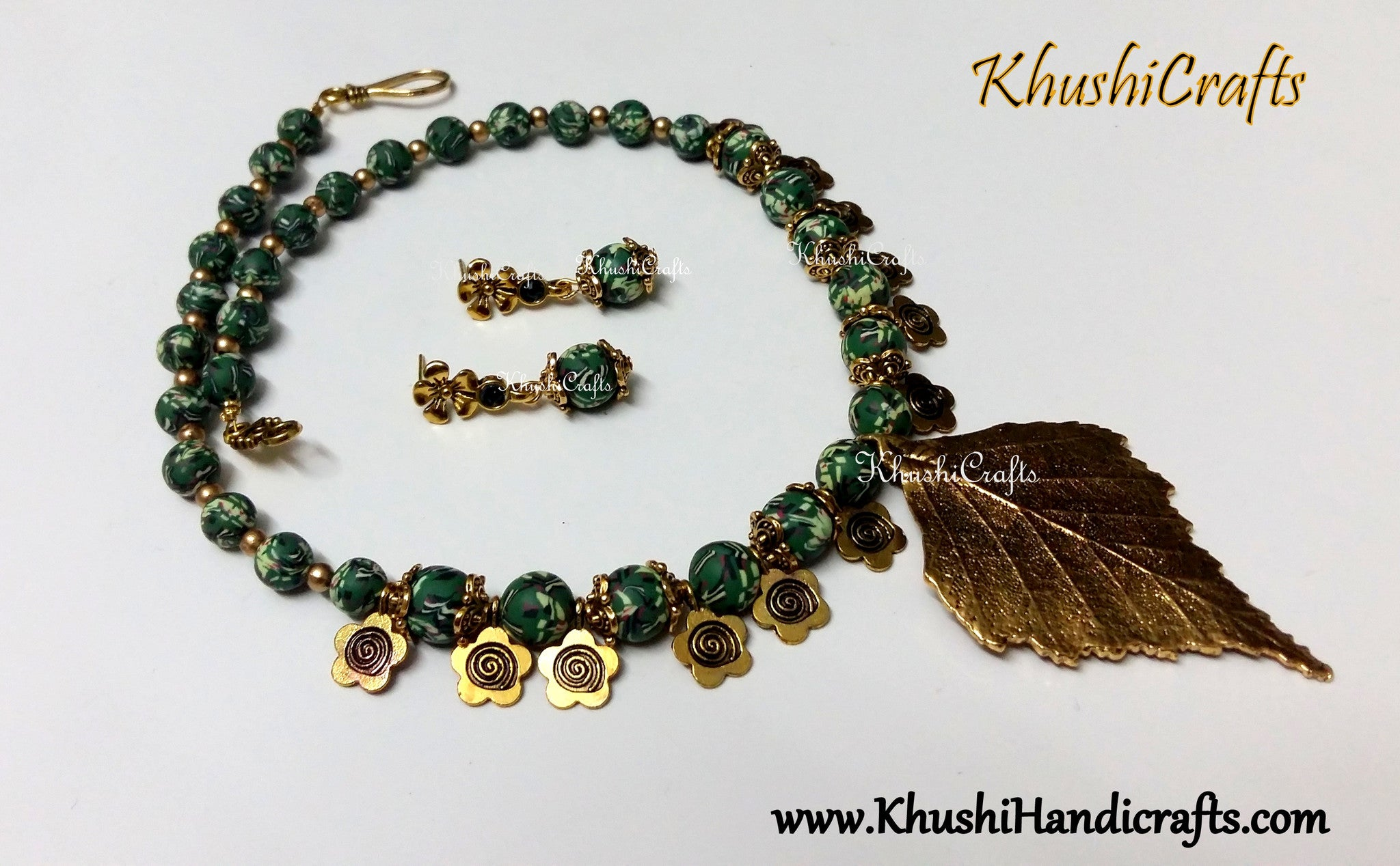 Green designer Polymer beads amagamated with Metal charms Necklace set - Khushi Handmade Jewellery