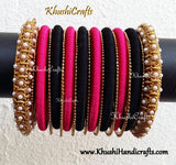 Silk Thread Bangles in Pink and Black with Pearl designer metal bangle