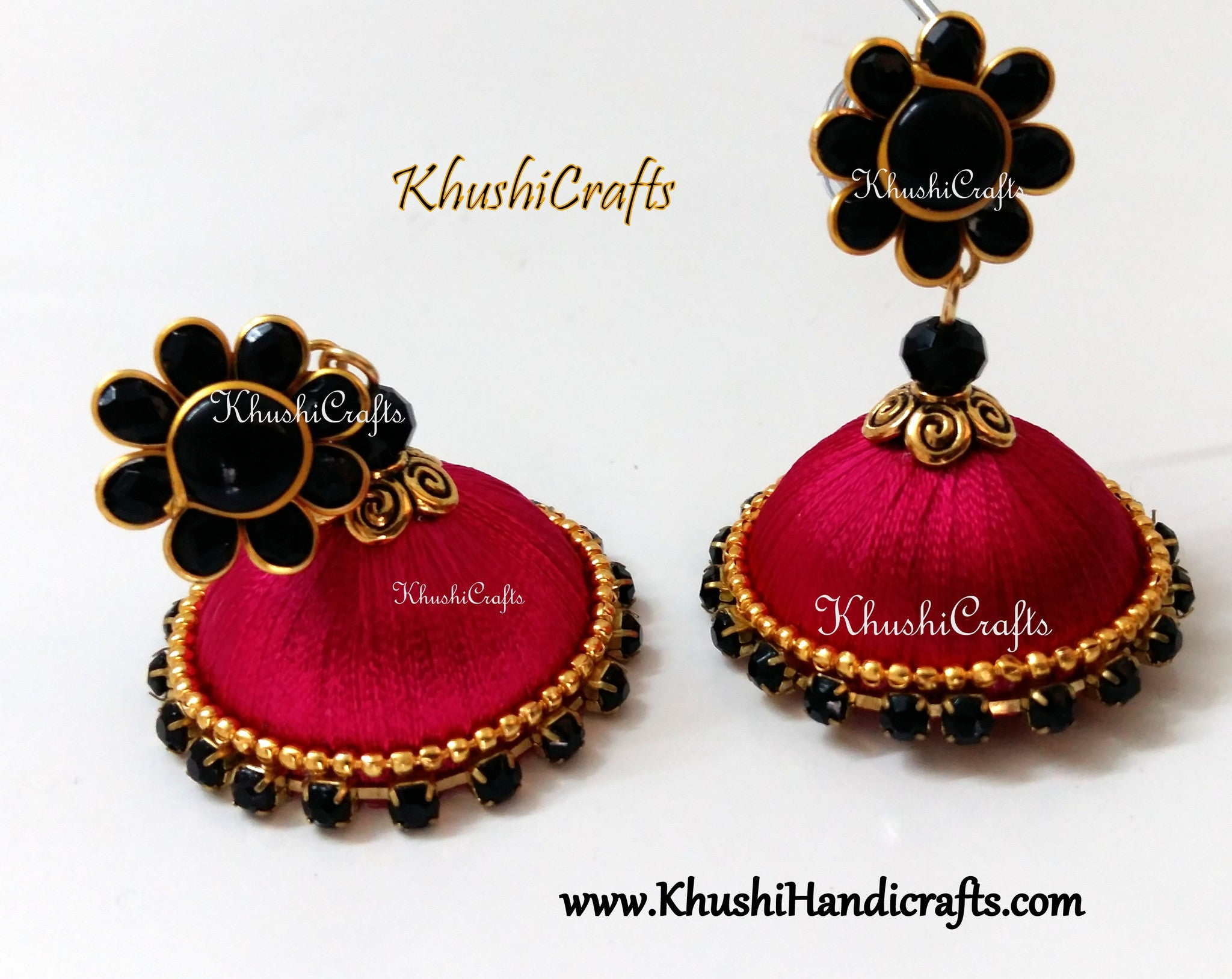 Pink Silk Jhumka With Black Pachi Stud - Khushi Handmade Jewellery