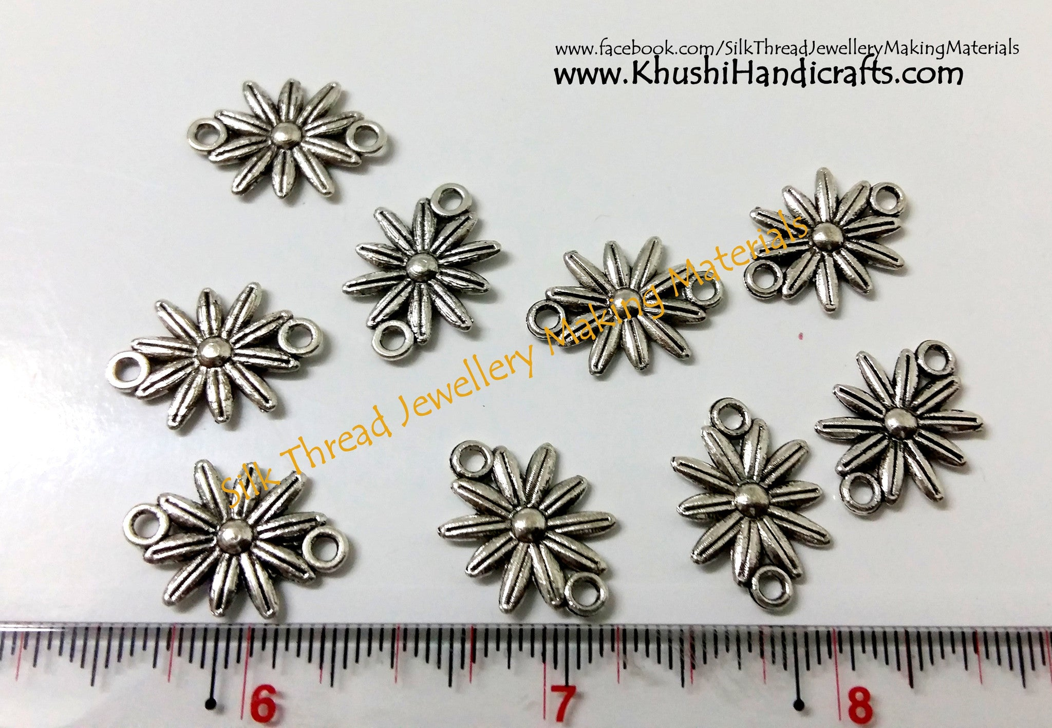 Antique Silver Flower Earring Connector / Connectors.Sold by pair! - Khushi Handmade Jewellery