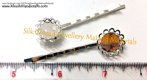 Antique Silver Cabochon Setting Hair Clips.Sold per pair!