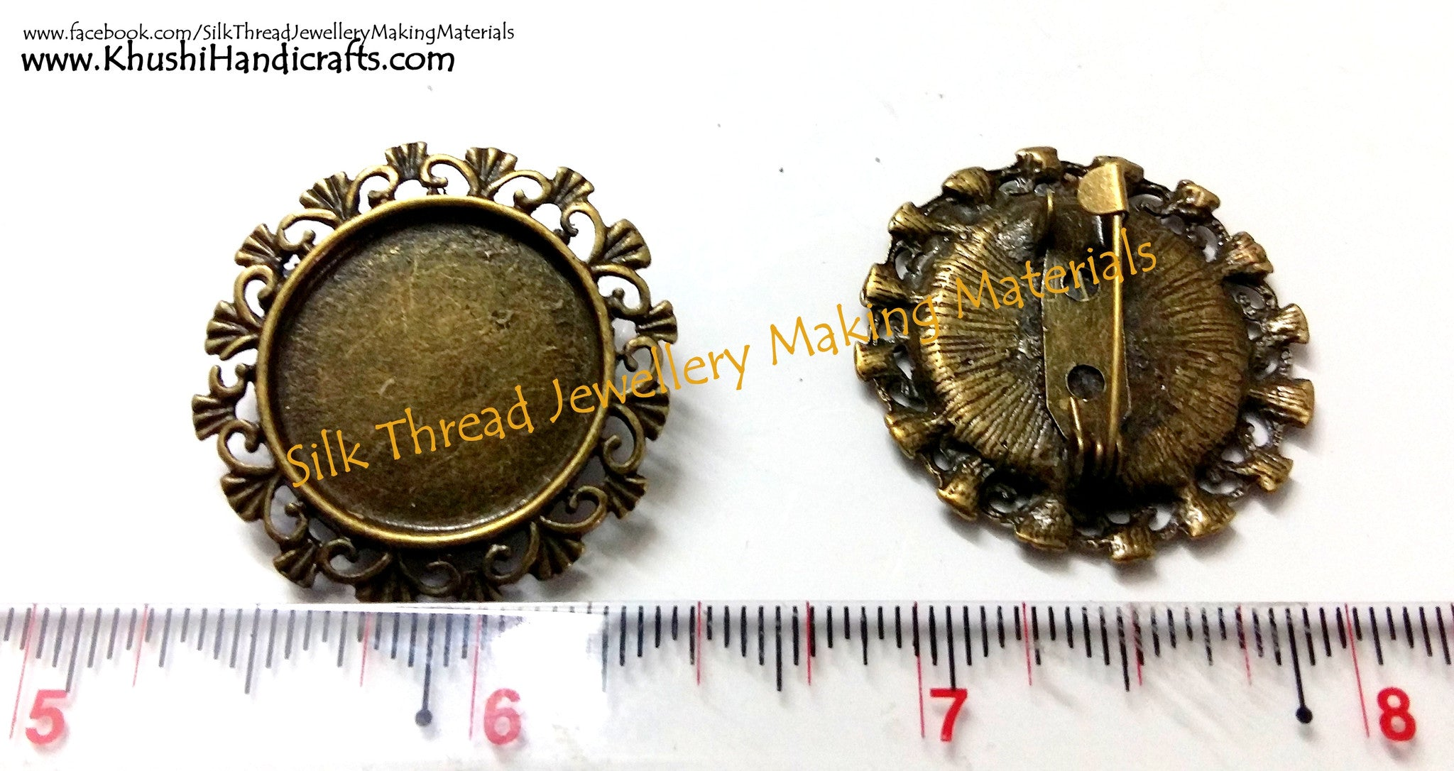 Antique Bronze Cabochon Brooch Frame  (Fits 19.5 mm) - Khushi Handmade Jewellery