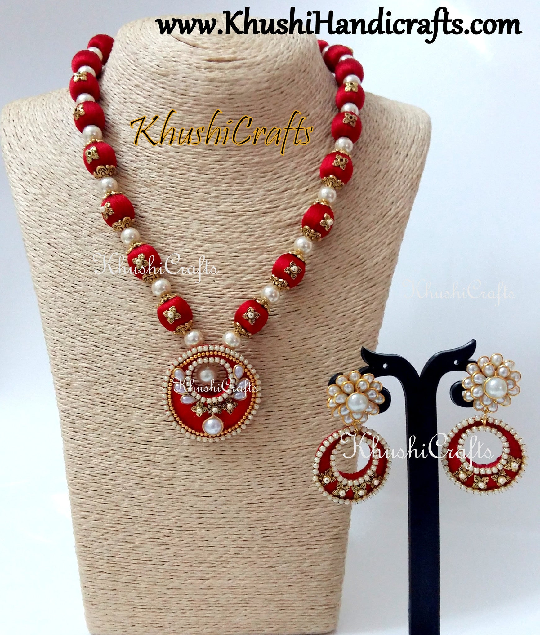 Red Silk Thread Designer Necklace set with Pachi studded earrings