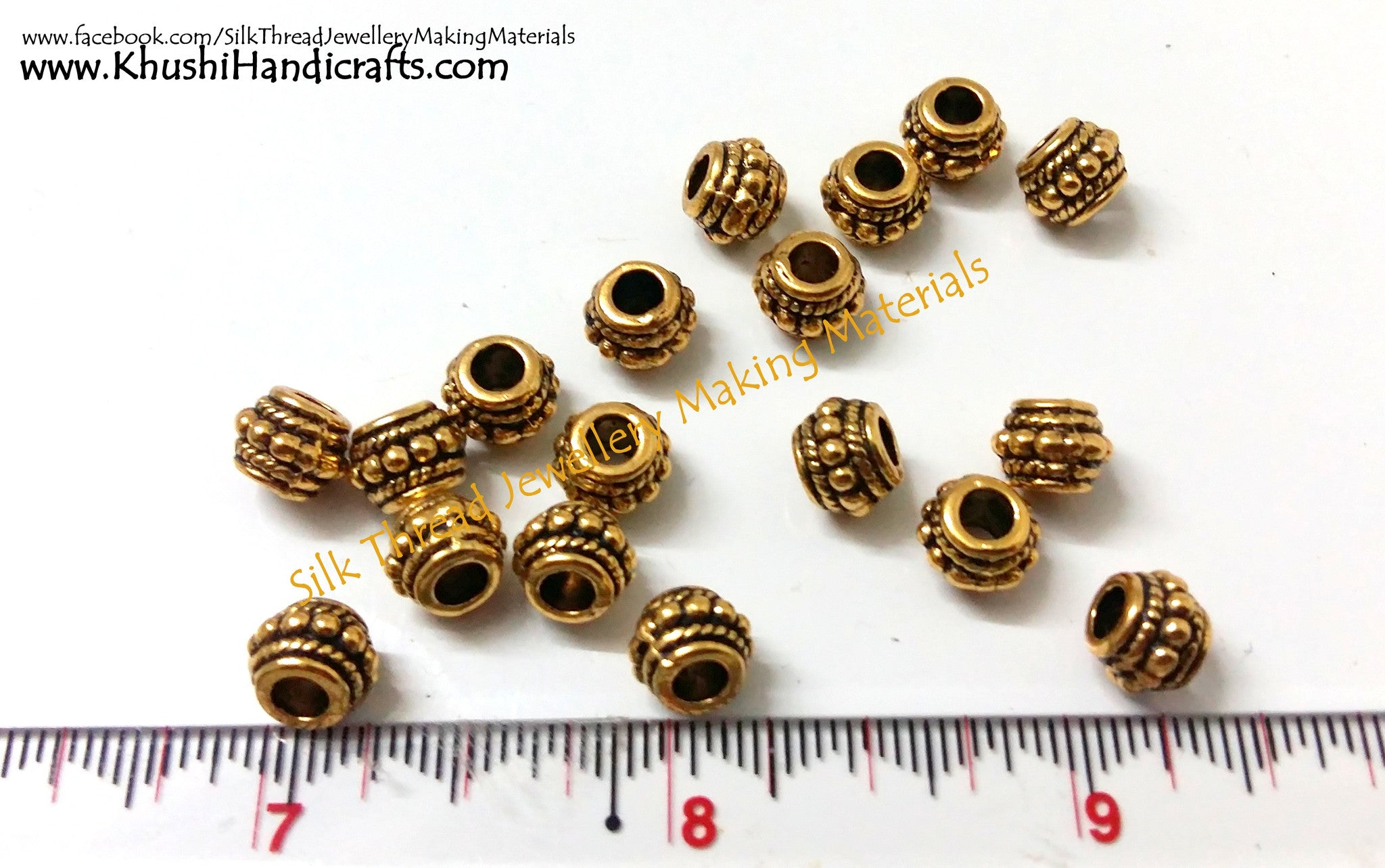 Designer Antique Gold and Silver spacer beads - Khushi Handmade Jewellery