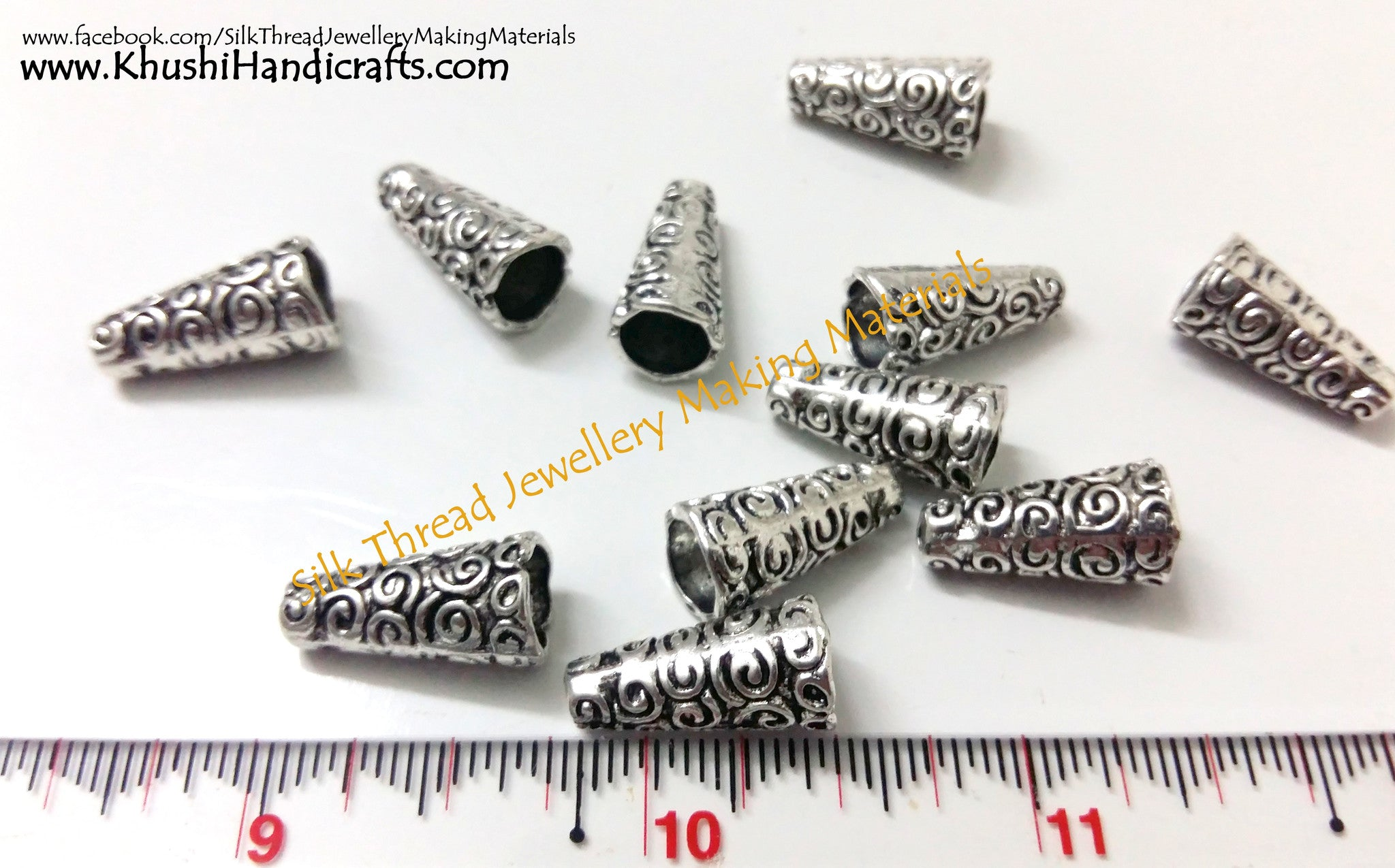 Antique Silver Cone Bead Caps - Khushi Handmade Jewellery