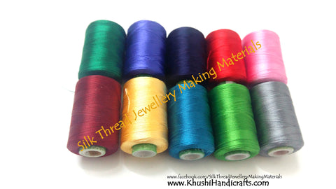 Silk Thread Spool Combo 2- Multiple colors for Bangle/Jhumkas/Jewelry Designing