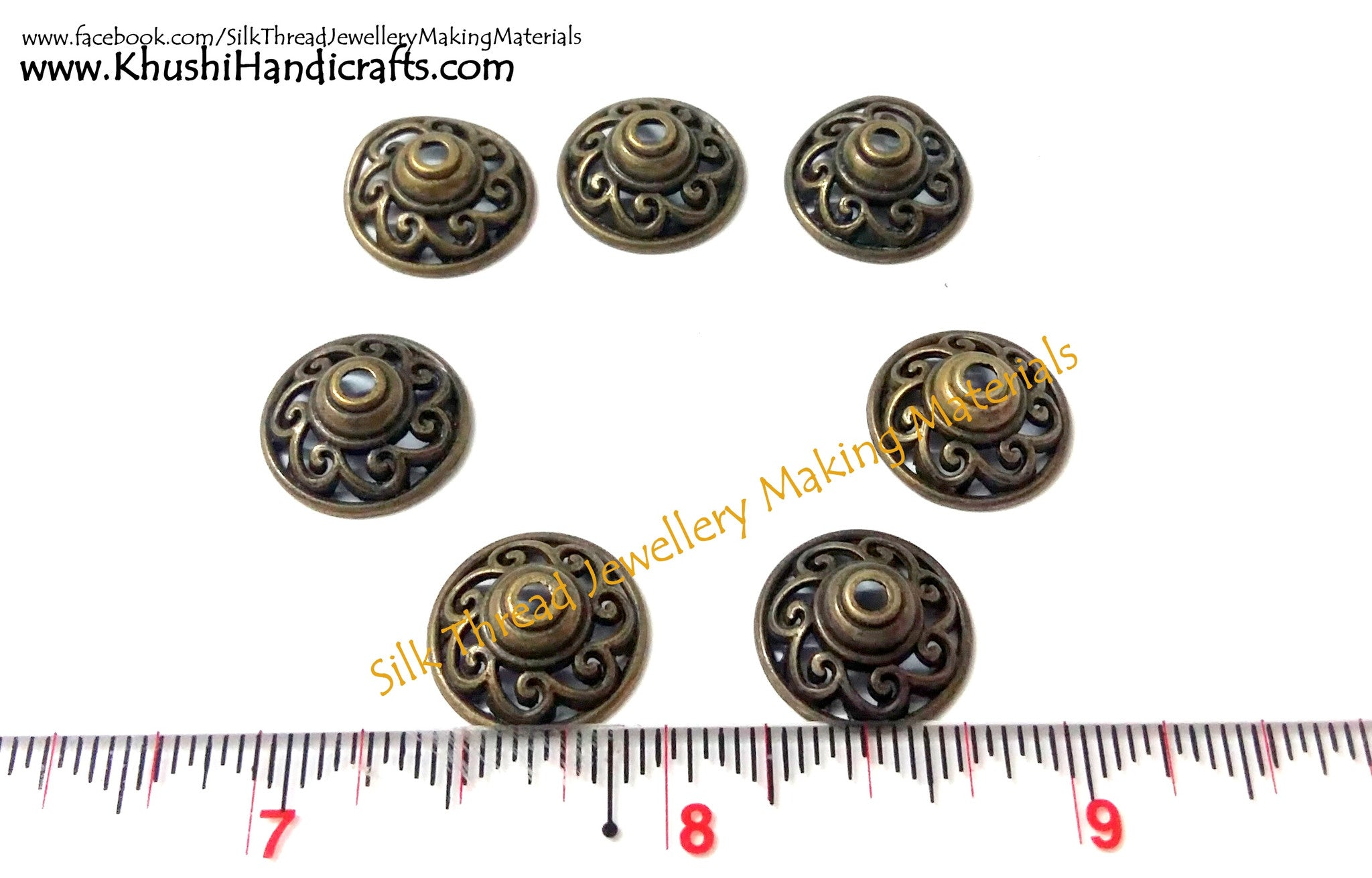 Antique Bronze Bead Caps - Khushi Handmade Jewellery