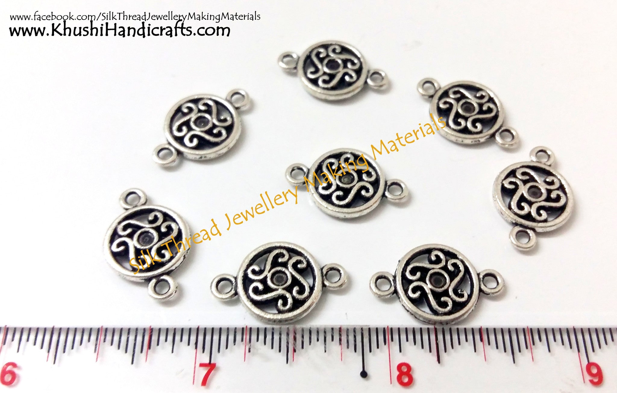 Antique Silver Round Connector / Connectors charms.Sold as a pair! - Khushi Handmade Jewellery