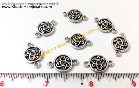 Antique Silver Round Connector / Connectors charms.Sold as a pair  -SP20