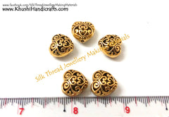 Antique Gold Heart Connector / Connectors charms.Sold as a pair! - Khushi Handmade Jewellery