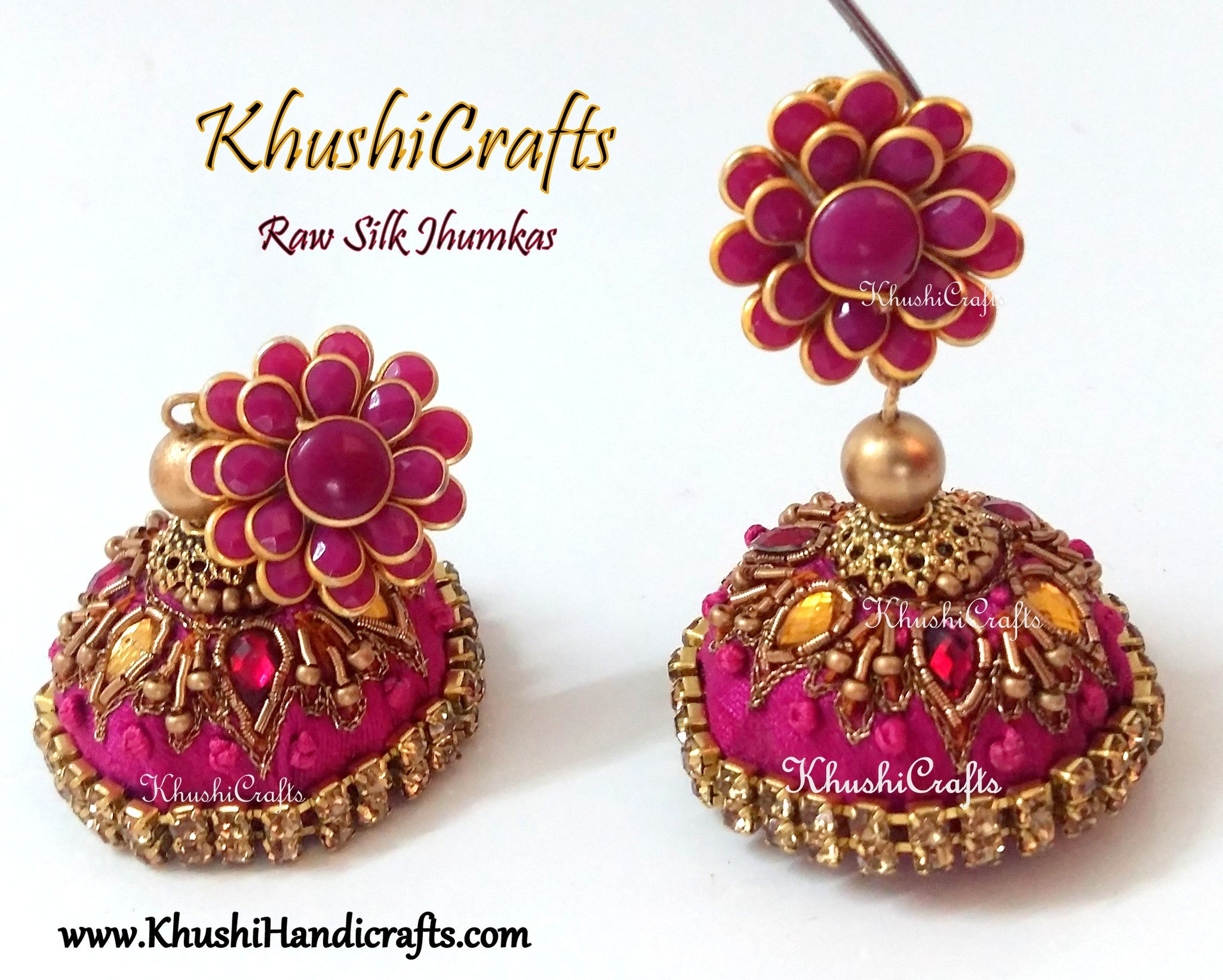 Pink Raw silk Jhumkas with Hand embroidery(Zardosi & Aari /Maggam work)! - Khushi Handmade Jewellery