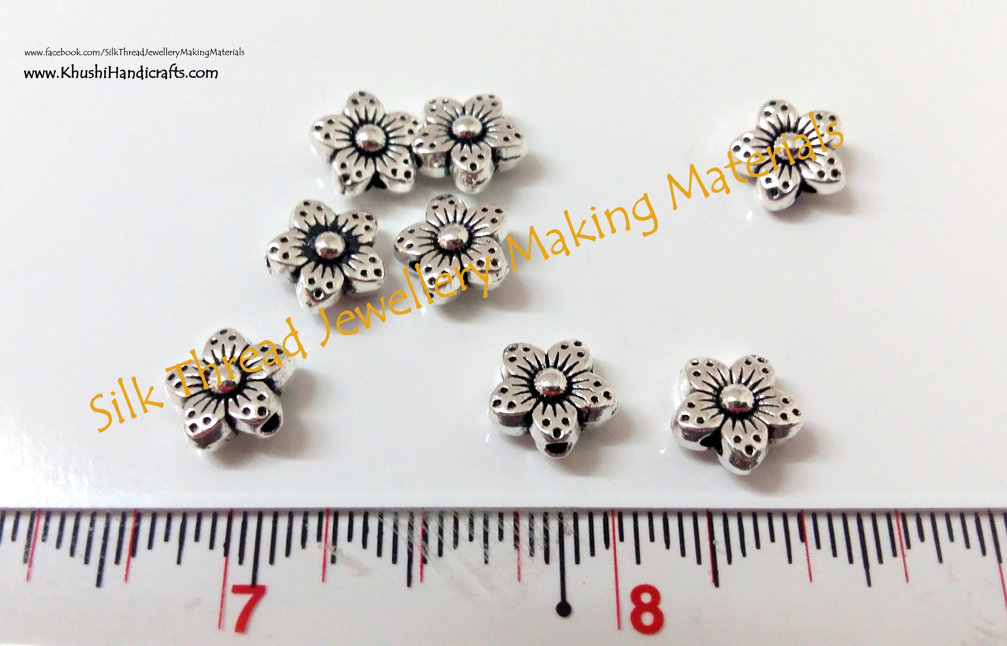 Silver Flower spacer beads 1.Sold per piece! - Khushi Handmade Jewellery