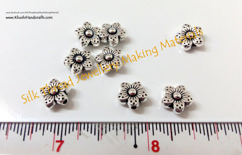 Silver Flower spacer beads 1.Sold as a pack of 10 pieces! -SP9