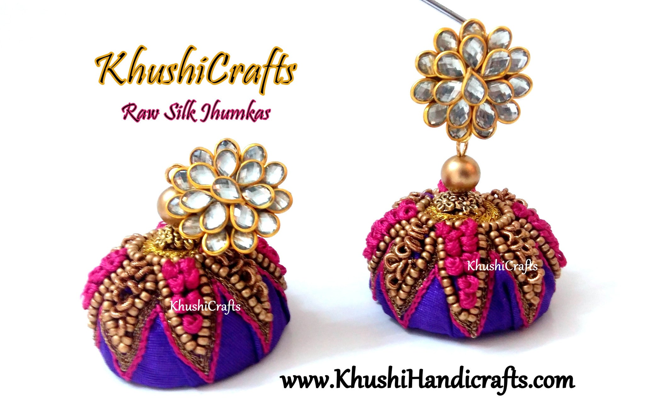 Purple Raw silk Jhumkas with Hand embroidery(Zardosi & Aari /Maggam work)!