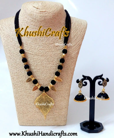 Black silk thread Necklace set with Leaf Pendant