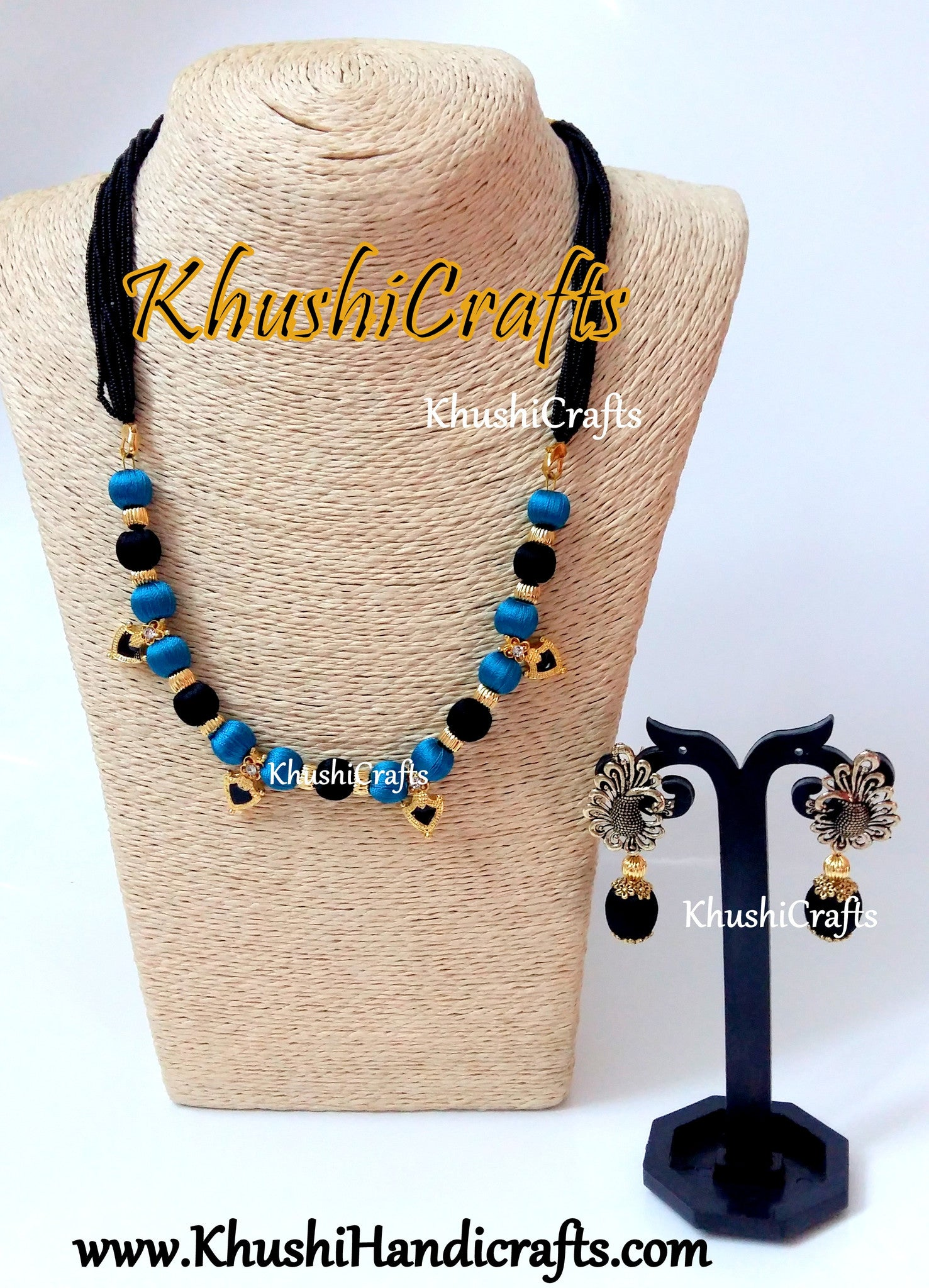 Black and Peacock Blue silk thread Necklace set