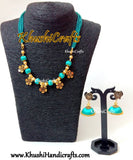Turquoise shaded Silk thread Necklace Set