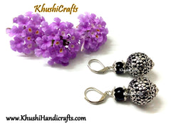 Black Shaded Flower Bead Dangler
