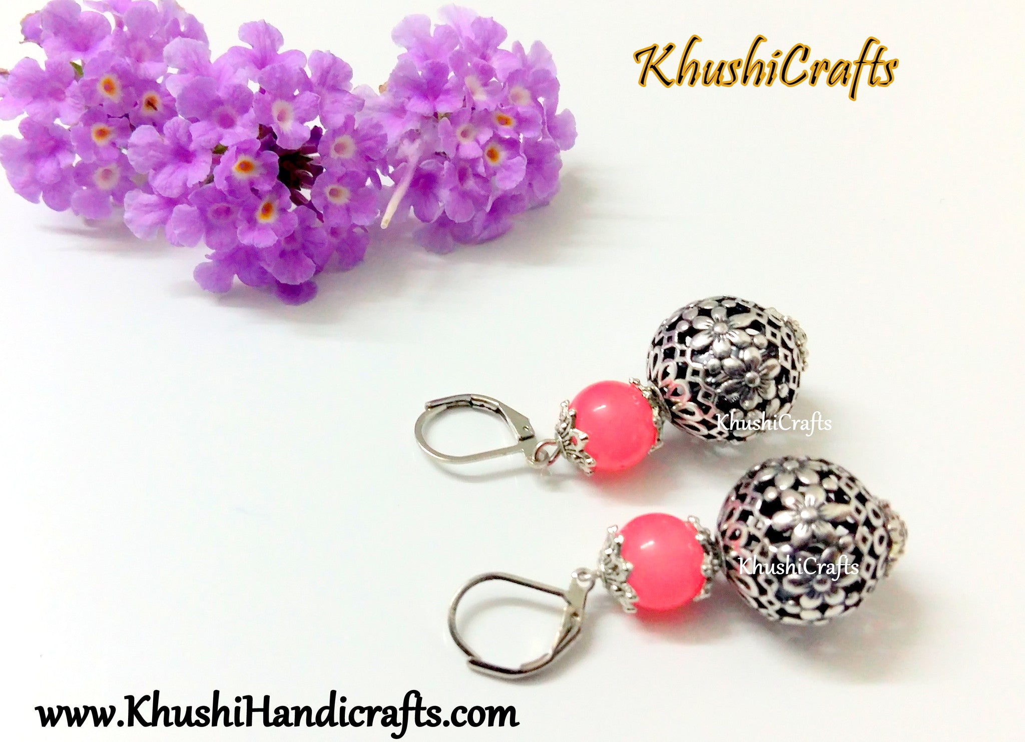 Peach Shaded Flower Bead Dangler Earring