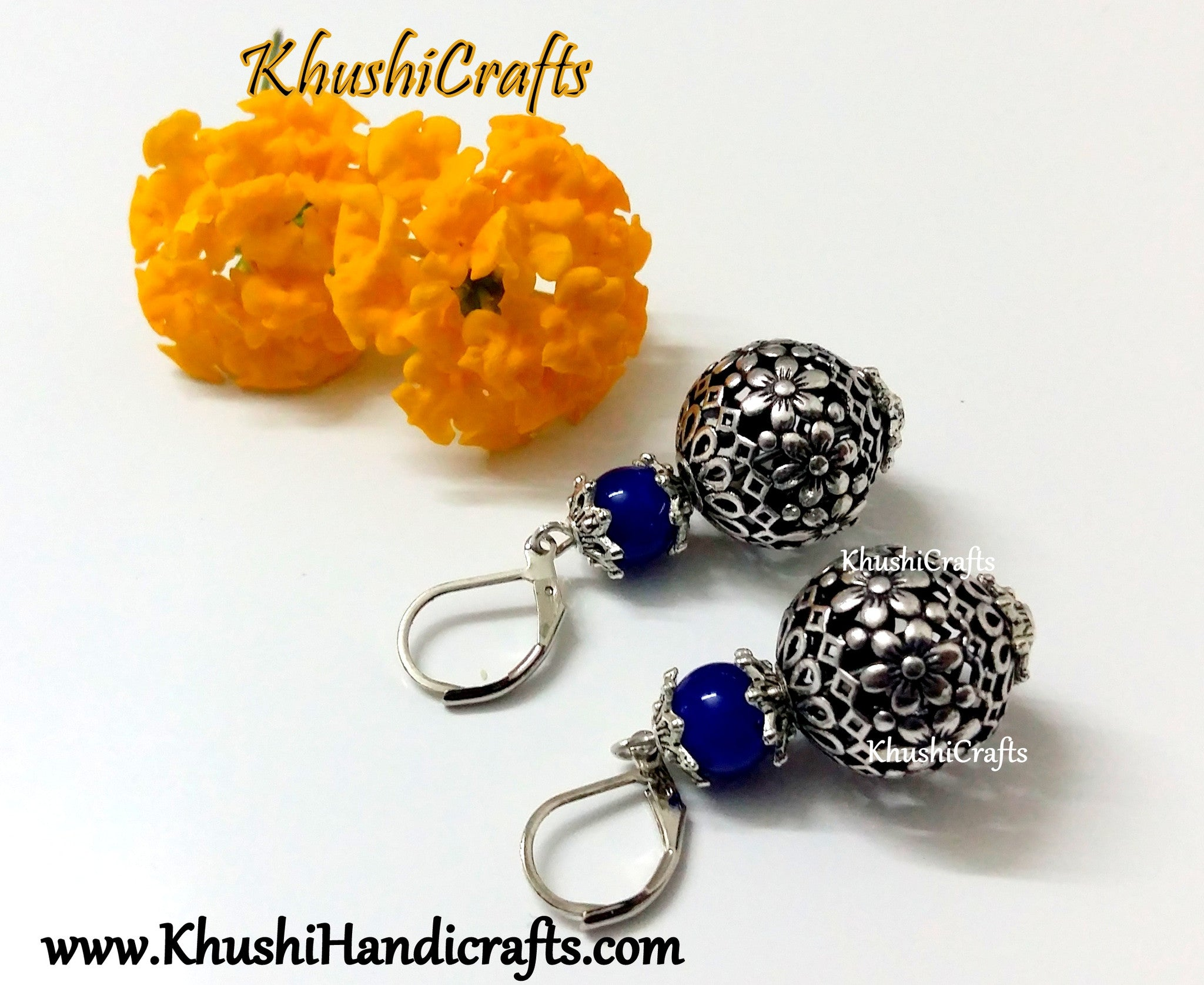 Dark Blue Shaded Flower Bead Dangler Earring