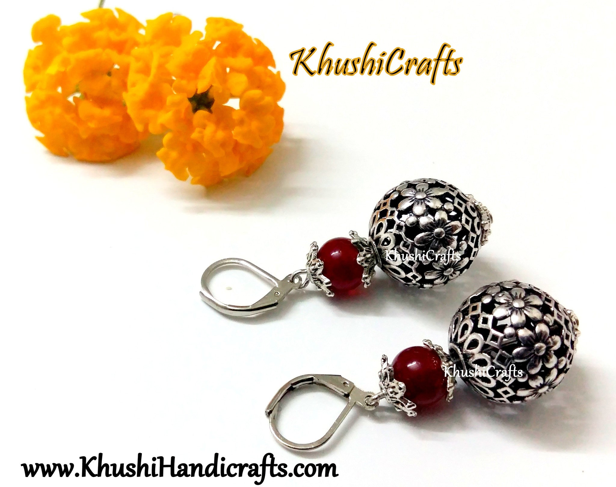 Deep Red Shaded Flower Bead Dangler Earring