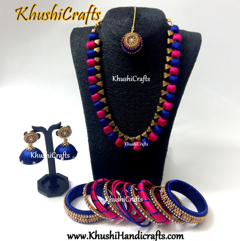 Silk Thread Handmade Necklace set with Bangles and Maang tikka  in Pink and Blue!