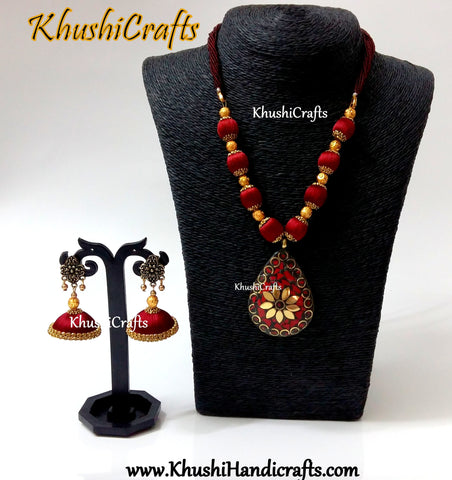 Maroon silk thread Necklace set with Tibetan pendant and matching jhumkas!
