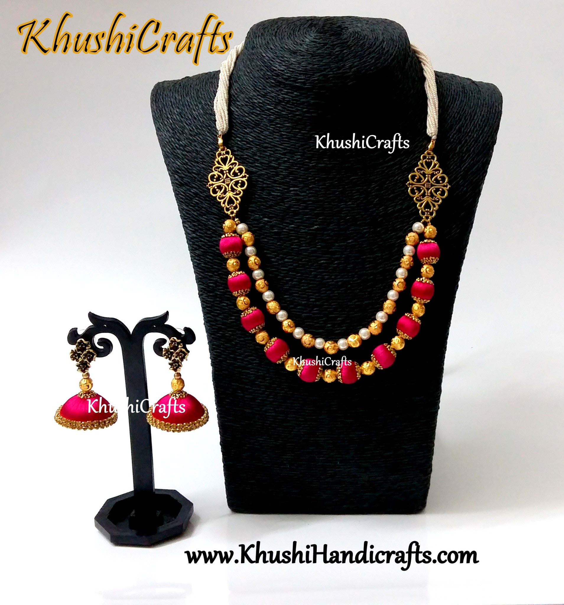 Pink Double layered silk thread Necklace set with Jhumkas