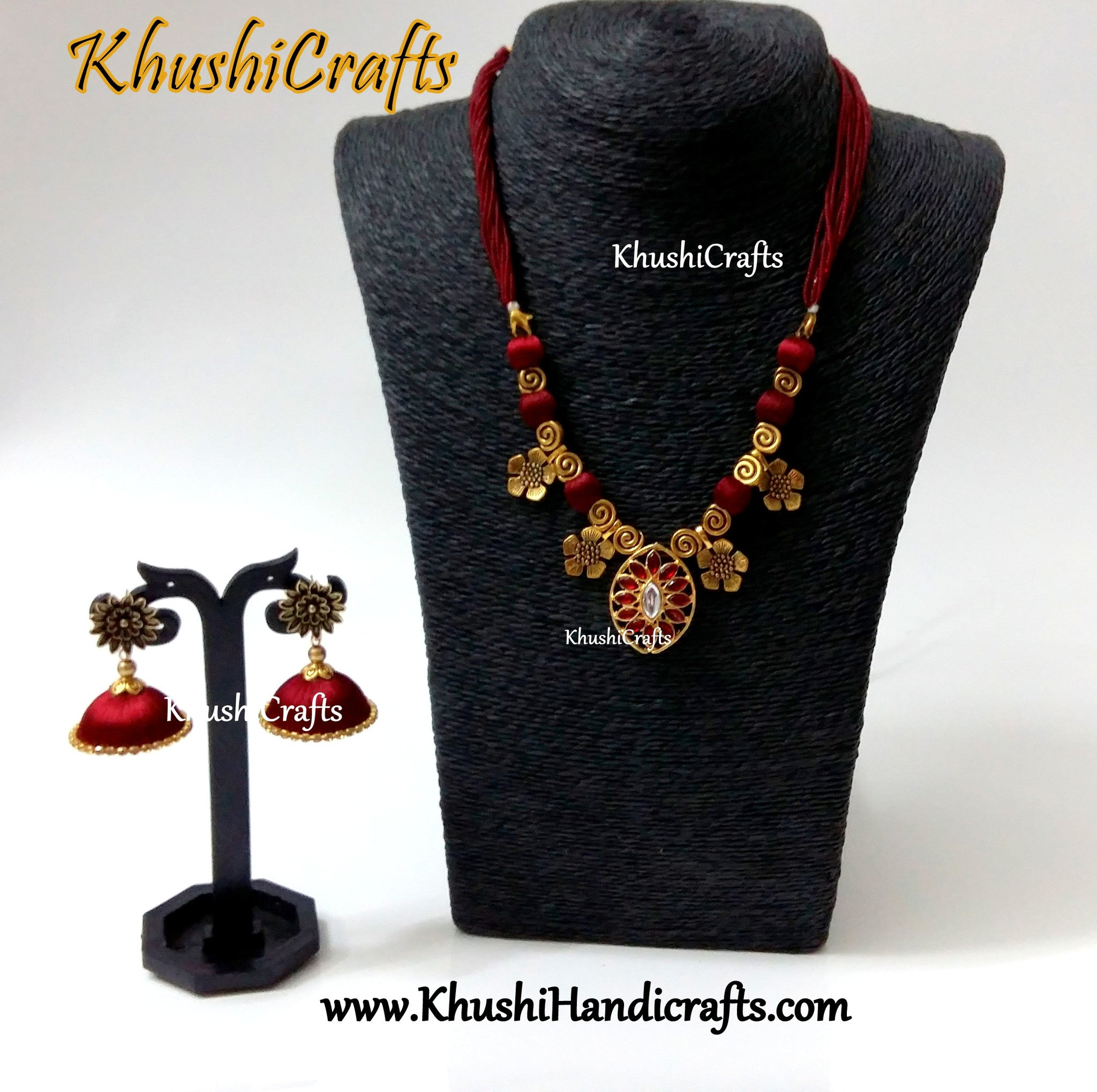Designer Maroon silk thread Necklace set