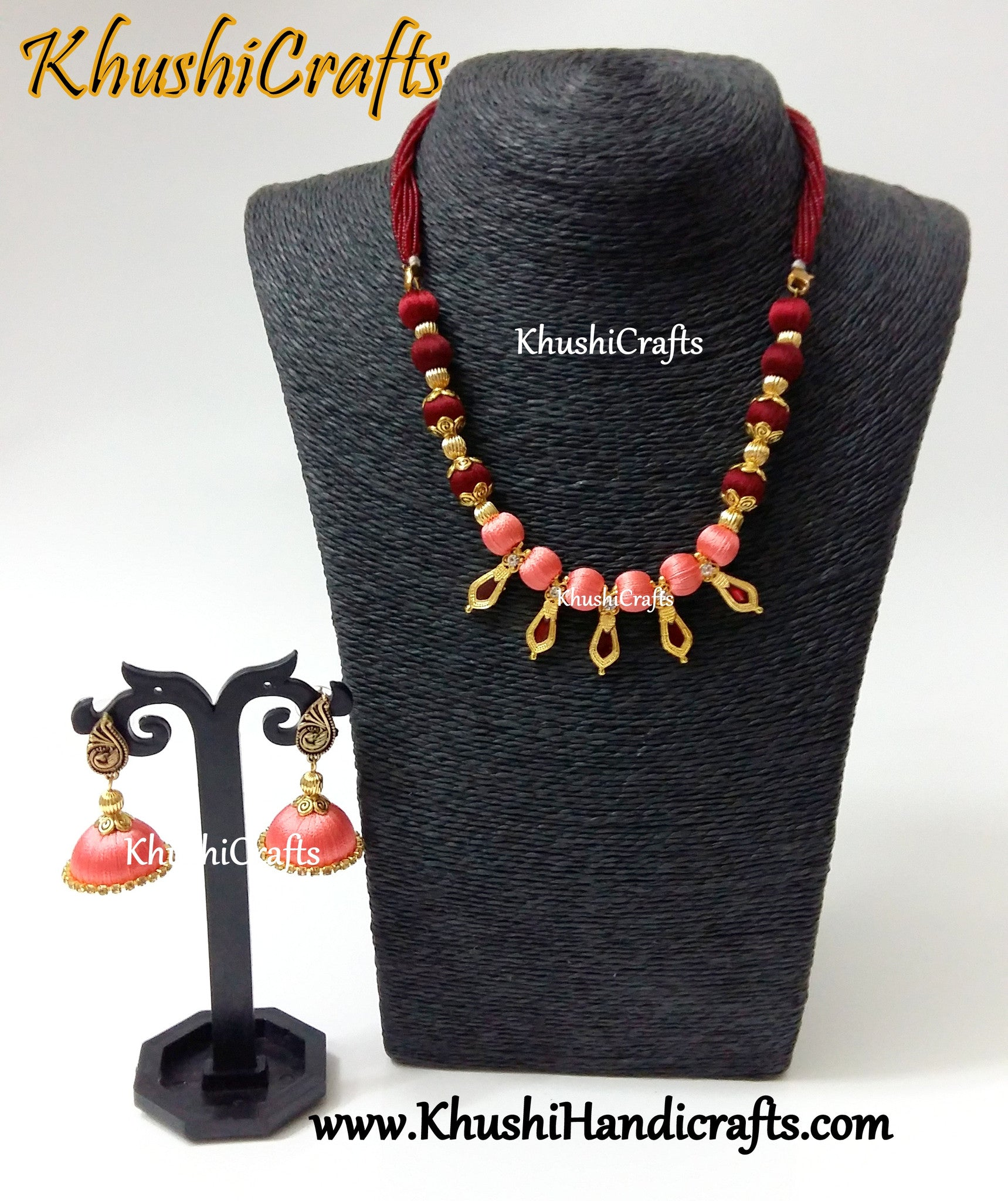 Peach and Maroon shaded silk thread Necklace set