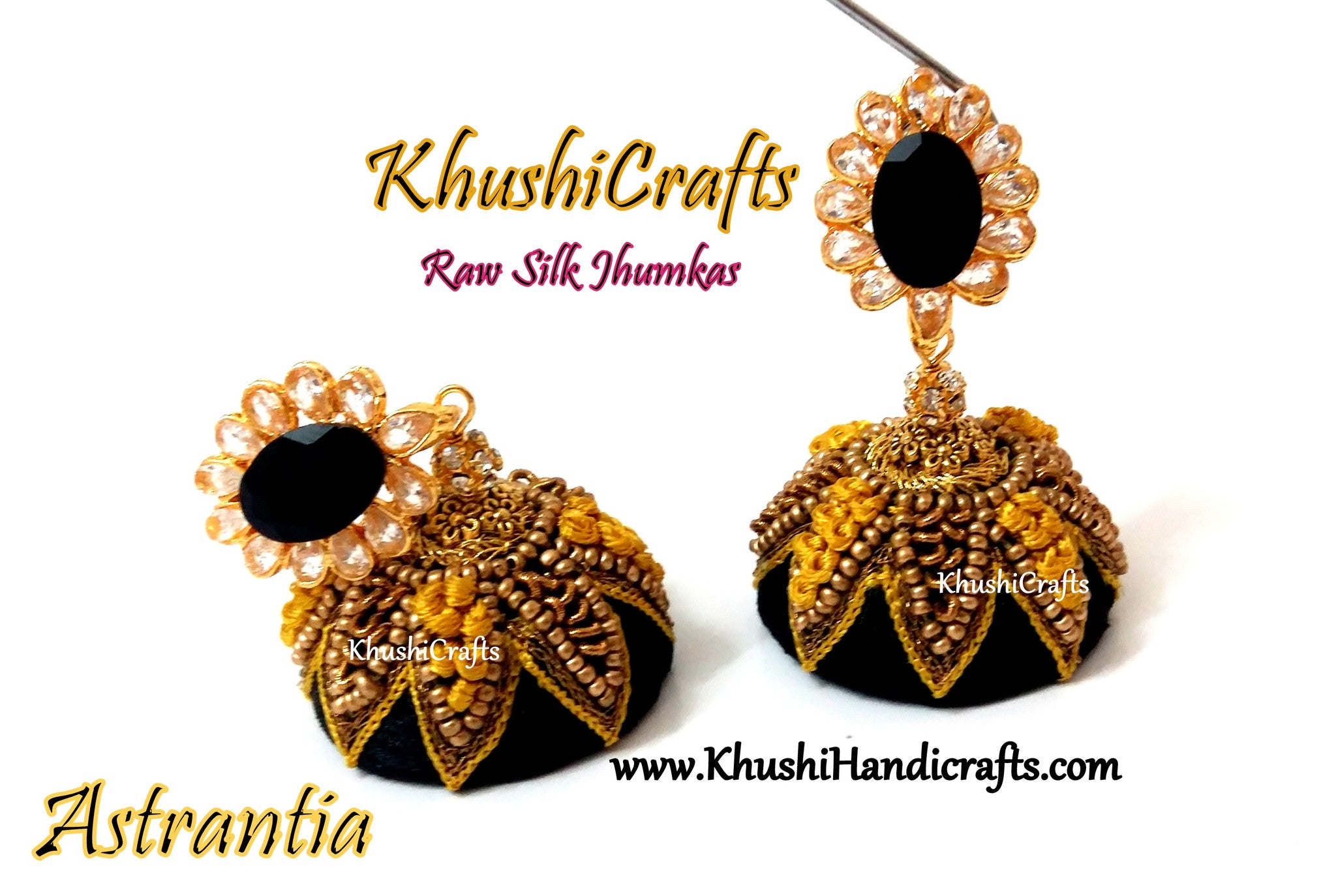 Yellow and Black Raw Silk Jhumkas