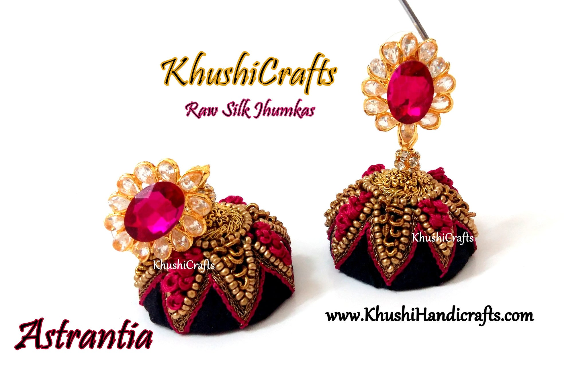 Black and Pink Raw silk Jhumkas