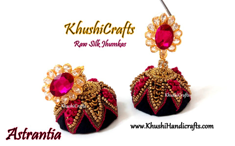 Black Raw silk Jhumkas with Hand embroidery in Pink(Zardosi & Aari /Maggam work)!