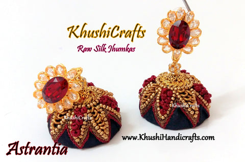 Black Raw silk Jhumkas with Hand embroidery in Maroon(Zardosi & Aari /Maggam work)!