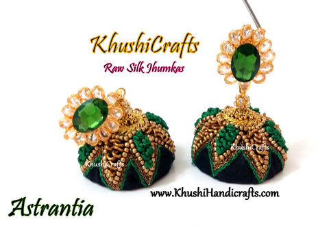 Raw silk Jhumkas in Black and green combination(Zardosi & Aari /Maggam work)!