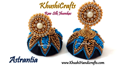 Raw silk Jhumkas in Black and Blue