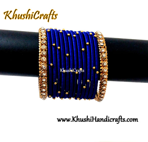 Dark Blue Silk Bangles