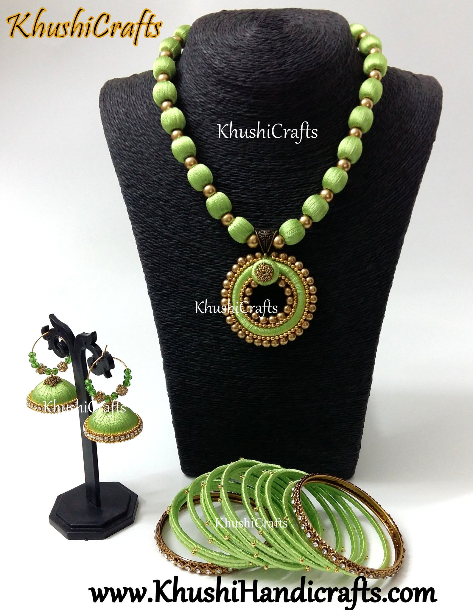 Indias best online jewelry making suppliessilk thread jewelry store green handmade silk thread jewellery set mozeypictures Image collections