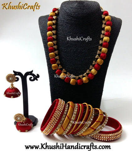 Red and Gold Silk Thread Handmade Necklace set with Bangles