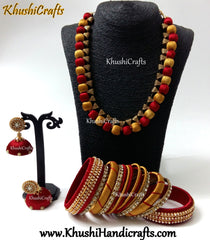 Red and Gold Silk thread Jewellery