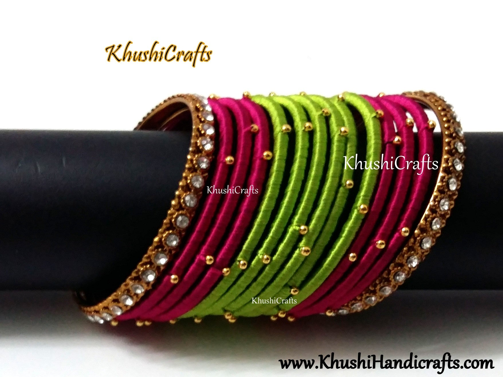 Pink and Green Silk Thread Beaded Bangles