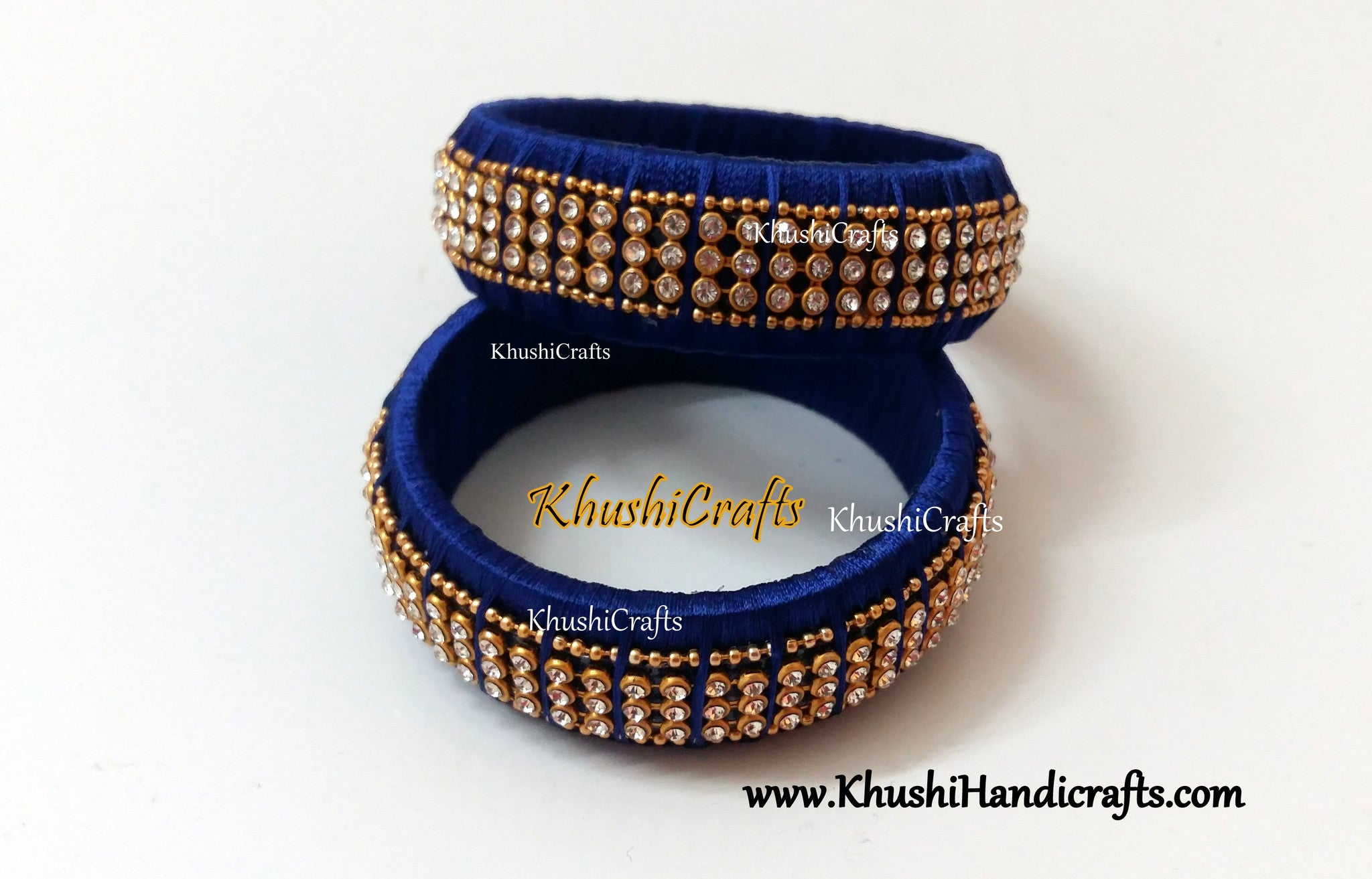 Silk bangles in Royal Blue Kada style