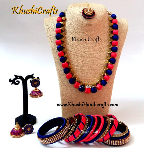 Peach and Blue shaded Silk Thread Handmade Necklace set with Bangles and Maang tikka