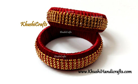 Silk Kada bangles in Maroon pattern 2.Sold as a pair!