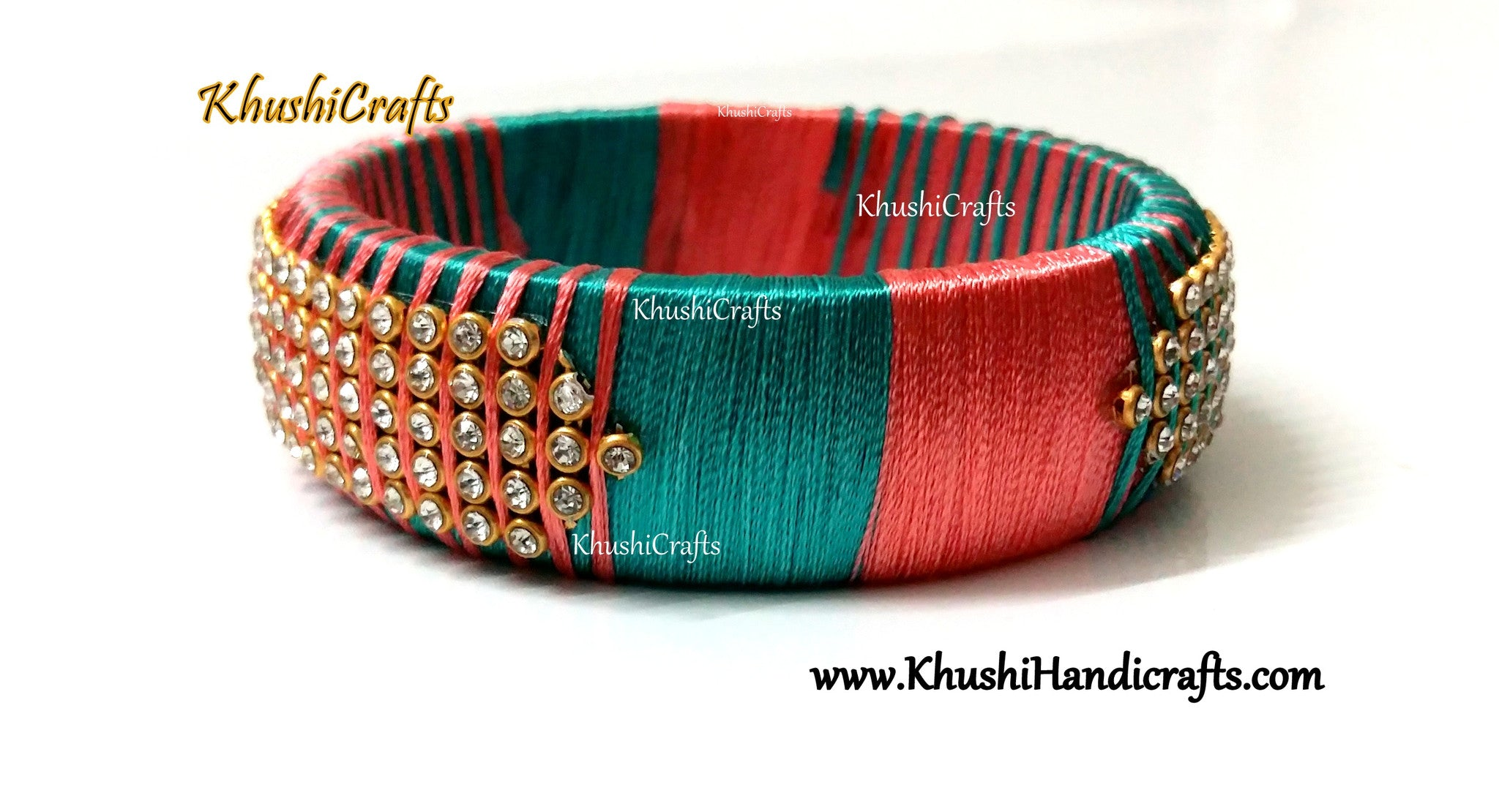 Silk Kada bangle in shades of Teel and Peach!Sold as a single piece! - Khushi Handmade Jewellery