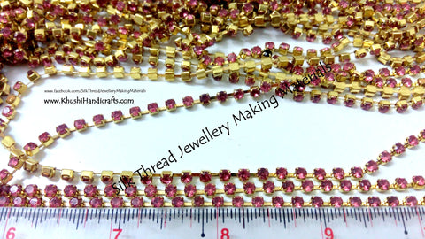 Pink Stone Chain.Sold as a pack of 5 meters!