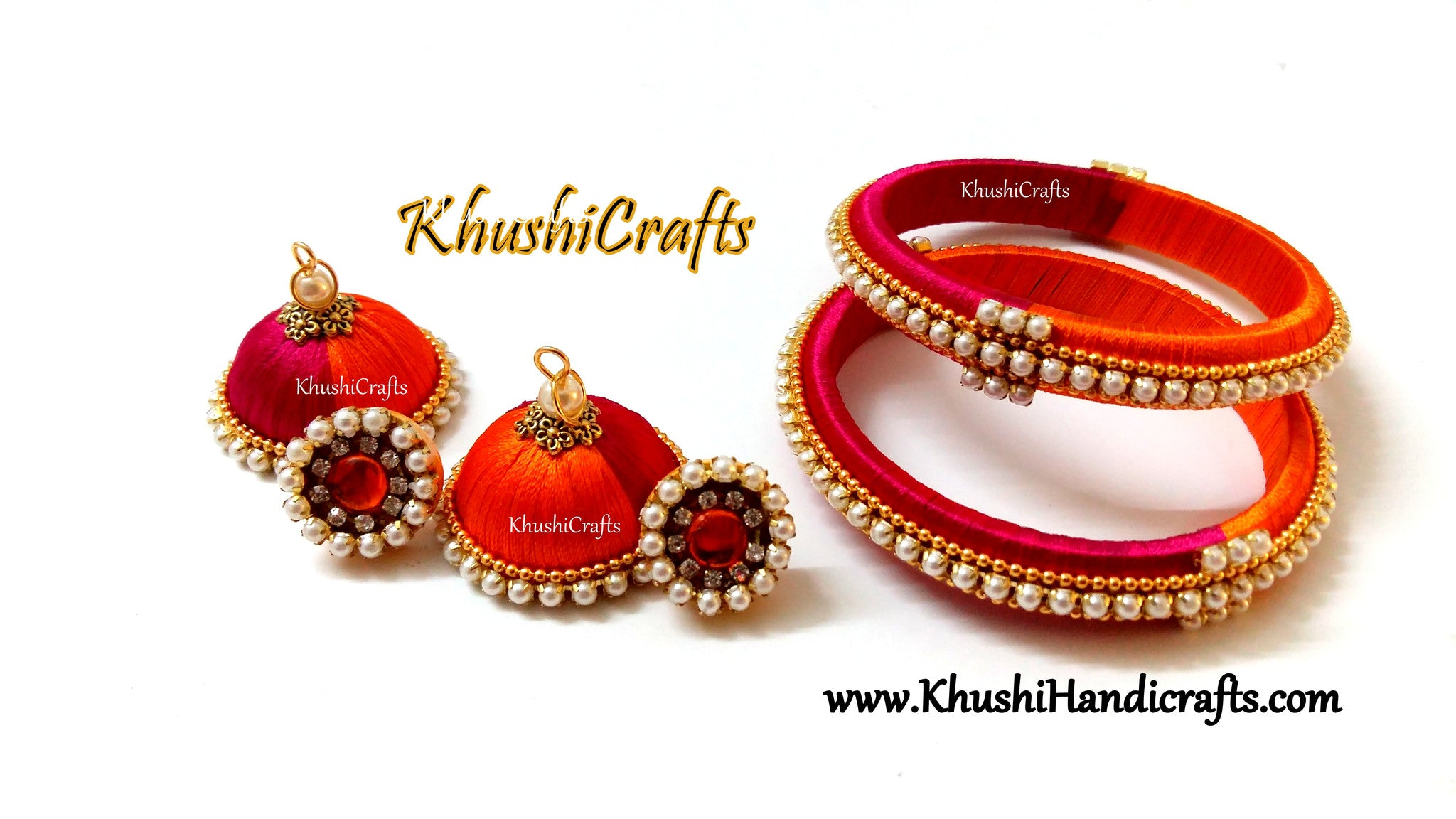 Pink Orange Silk Jhumkas and Bangles