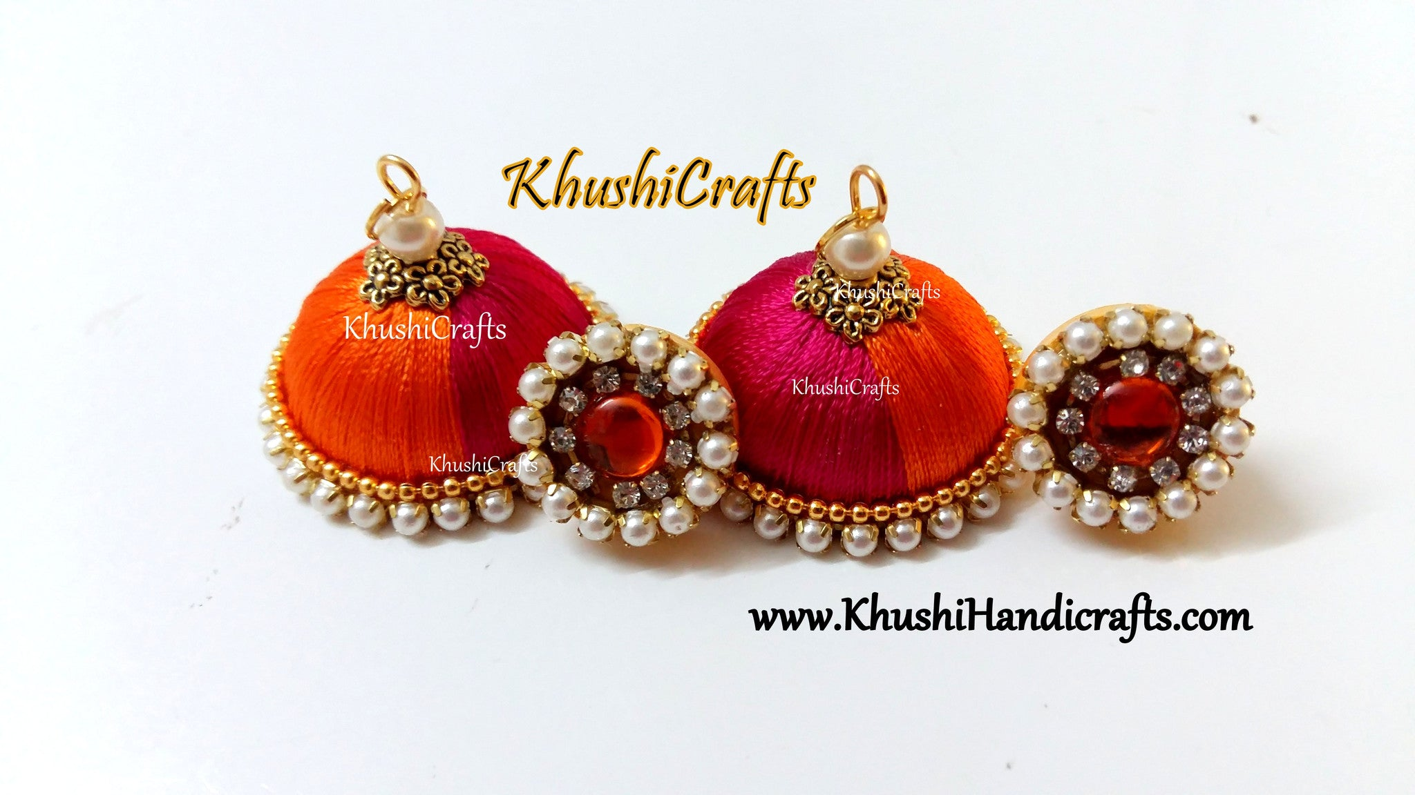 Pink Orange Silk Thread Jhumkas
